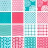 Insieme delle strutture del tessuto nei colori rosa e blu Fotografie Stock