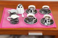 Insieme delle tazze da caffè Immagini Stock Libere da Diritti