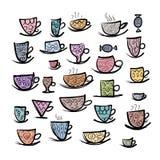 Insieme delle tazze decorate Schizzo per la vostra progettazione Fotografia Stock