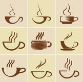 Insieme delle tazze di caffè Fotografia Stock Libera da Diritti