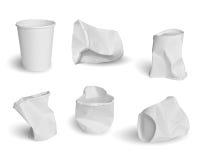 Insieme delle tazze di carta Immagine Stock Libera da Diritti