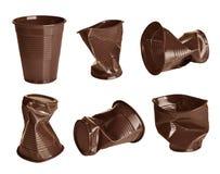 Insieme delle tazze di plastica Fotografia Stock Libera da Diritti