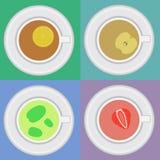 Insieme delle tazze di tè con la menta, limone, mela Illustrazione di Stock