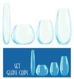 Insieme delle tazze di vetro Immagine Stock Libera da Diritti