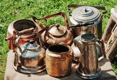 Insieme delle teiere antiche Immagini Stock