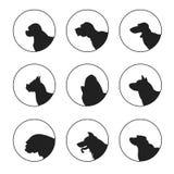 Insieme delle teste di cani della siluetta Fotografia Stock Libera da Diritti