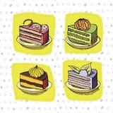 Insieme delle torte Immagini Stock Libere da Diritti