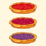 Insieme delle torte della bacca - fragola, ciliegia, mirtillo Fotografia Stock