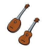 Insieme delle ukulele disegnate a mano Fotografia Stock