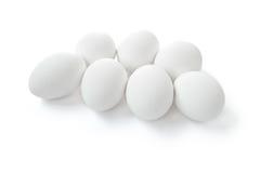 Insieme delle uova bianche isolate Fotografie Stock Libere da Diritti