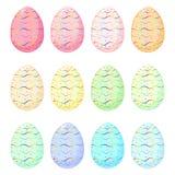 Insieme delle uova di Pasqua con il modello dell'arcobaleno Fotografia Stock Libera da Diritti