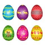 Insieme delle uova di Pasqua con la pittura gialla Fotografia Stock Libera da Diritti