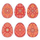 Insieme delle uova di Pasqua di vettore con i bei ornamenti floreali Raccolta degli elementi decorativi a pasqua Fotografia Stock