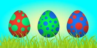 Insieme delle uova di Pasqua sull'erba Immagini Stock Libere da Diritti