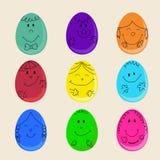 Insieme delle uova di Pasqua Sveglie Fotografia Stock Libera da Diritti