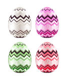 Insieme delle uova di Pasqua variopinte decorate con lo zigzag Immagini Stock