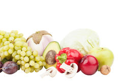 Insieme delle verdure crude fresche multicolori e della frutta Immagine Stock