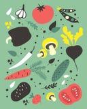 Insieme delle verdure di vettore Illustrazione del fumetto Immagine Stock Libera da Diritti