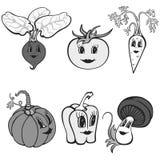 Insieme delle verdure divertenti del fumetto grige illustrazione vettoriale