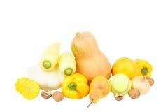 Insieme delle verdure gialle ed arancio e della frutta Immagine Stock Libera da Diritti