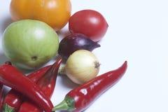 Insieme delle verdure per insalata bugie su una priorità bassa bianca Cipolle e pomodori dei colori differenti Fotografie Stock Libere da Diritti