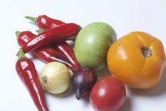 Insieme delle verdure per insalata bugie su una priorità bassa bianca Cipolle e pomodori dei colori differenti Immagini Stock Libere da Diritti