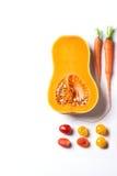 Insieme delle verdure rosse, arancio e gialle Fotografia Stock