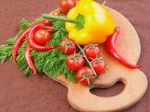 Insieme delle verdure sul bordo della cucina con prezzemolo ed i pomodori Immagini Stock