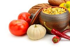 Insieme delle verdure utili dei prodotti, spezie, ravioli Fotografie Stock Libere da Diritti