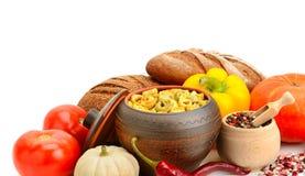 Insieme delle verdure utili dei prodotti, spezie, ravioli Fotografia Stock Libera da Diritti