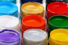 Insieme delle vernici acriliche per i tessuti di tintura. Fotografie Stock