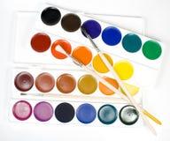 Insieme delle vernici di colore di acqua Fotografie Stock Libere da Diritti