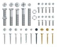 Insieme delle viti, dei bulloni, dei dadi e dei ribattini d'acciaio Vista laterale superiore e Elementi isolati di vettore royalty illustrazione gratis