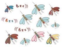 Insieme delle zanzare divertenti del fumetto Fotografia Stock
