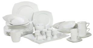 Insieme delle zolle e dei piatti lavati freschi Immagine Stock Libera da Diritti