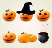 Insieme delle zucche di Halloween Immagini Stock