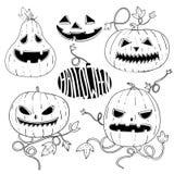 Insieme delle zucche grafiche spaventose di Halloween nello stile di schizzo di contorno Fotografia Stock
