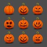 Insieme delle zucche realistiche per Halloween Zucche felici di Halloween del fronte Feste di autunno Illustrazione di vettore Fotografia Stock