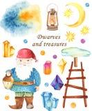 Insieme dello gnomo, luna, cristalli, scale, lanterna dell'acquerello illustrazione di stock