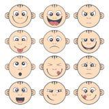 Insieme dello smiley del bambino Il fumetto sveglio scherza l'emoticon Immagine Stock Libera da Diritti