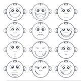 Insieme dello smiley del bambino Il fumetto sveglio scherza l'emoticon Fotografia Stock