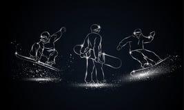 Insieme dello Snowboarder Illustrazione lineare cromata di sport dello snowboard per l'insegna, il fondo e l'aletta di filatoio d illustrazione di stock
