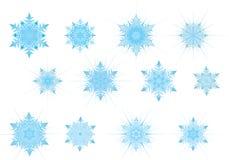 Insieme dello snowflak blu-chiaro Fotografia Stock Libera da Diritti