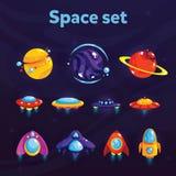 Insieme dello spazio Oggetti cosmici di fantasia per il gioco o il web design mobile Elementi del GUI di vettore per progettazion Fotografie Stock
