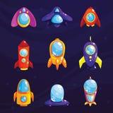 Insieme dello spazio Oggetti cosmici di fantasia per il gioco o il web design mobile Elementi del GUI di vettore per progettazion Immagine Stock Libera da Diritti