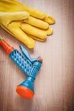 Insieme dello spruzzatore dell'acqua del tubo di gomma del giardino dei guanti di cuoio su di legno Immagine Stock