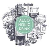 Insieme dello spuntino e del vino illustrazione vettoriale