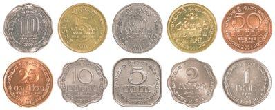 Insieme dello Sri Lanka della raccolta di monete della rupia Immagine Stock