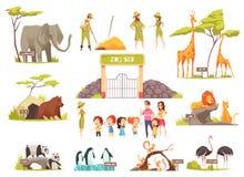 Insieme dello zoo del fumetto royalty illustrazione gratis