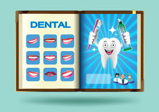 Insieme dentario sull'illustrazione di vettore della pagina del taccuino Immagini Stock Libere da Diritti